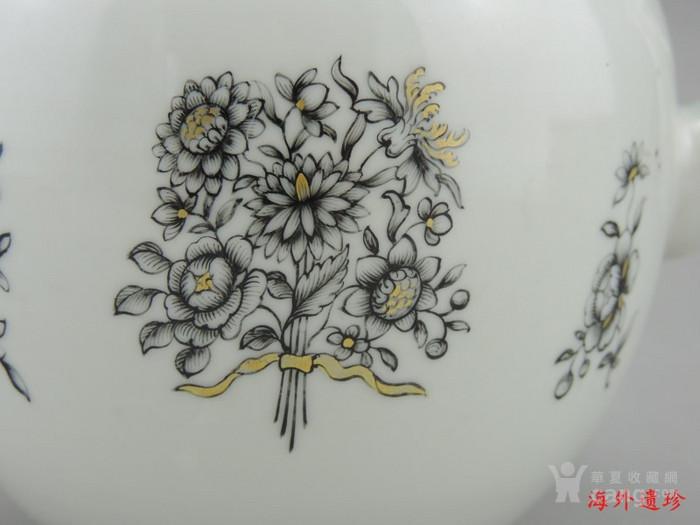 清代 雍正 乾隆 墨彩描金花卉纹 大号 茶壶图6