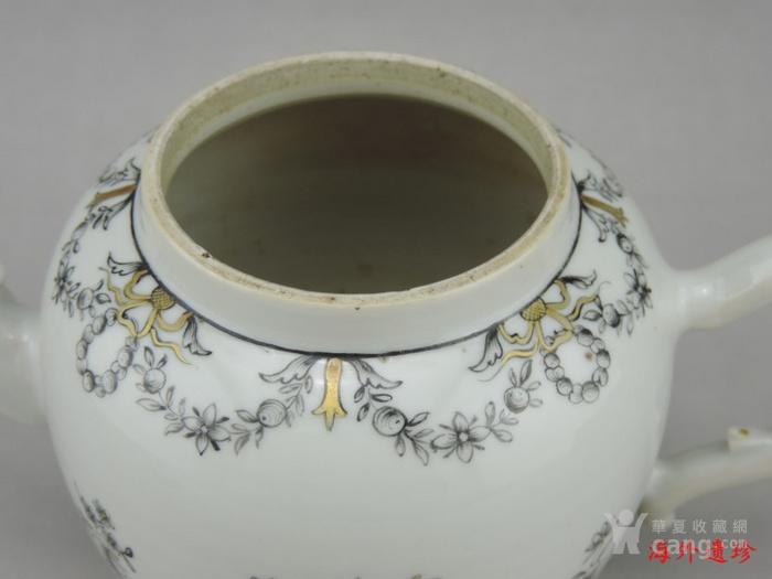 清代 雍正 乾隆 墨彩描金花卉纹 大号 茶壶图9