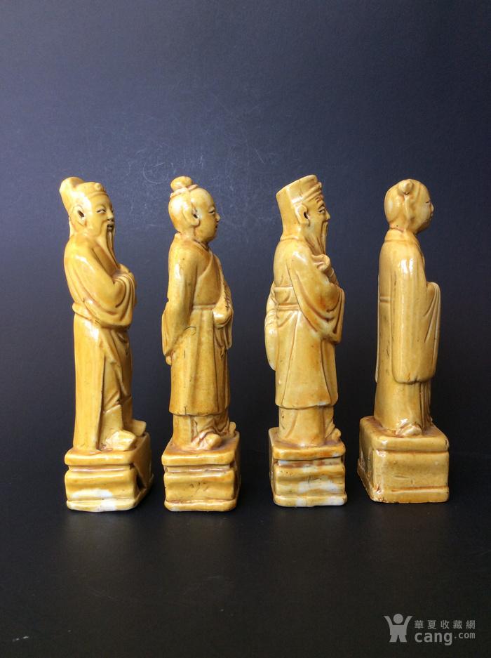 美国回流兴业坊 民国单色黄釉人物8件。CHINA款图6