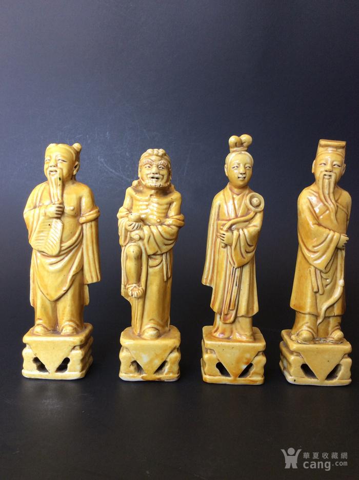 美国回流兴业坊 民国单色黄釉人物8件。CHINA款图8