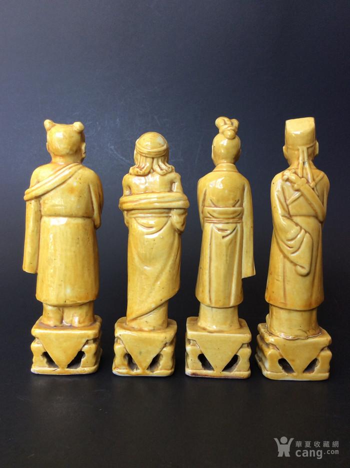 美国回流兴业坊 民国单色黄釉人物8件。CHINA款图10