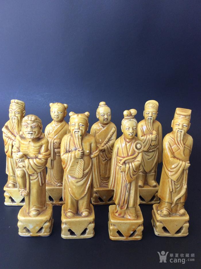美国回流兴业坊 民国单色黄釉人物8件。CHINA款图1
