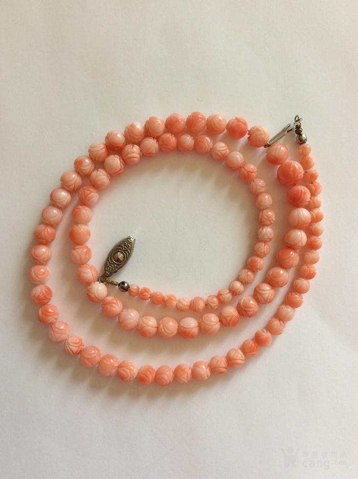 美国回流兴业坊 天然粉珊瑚圆珠项链图1