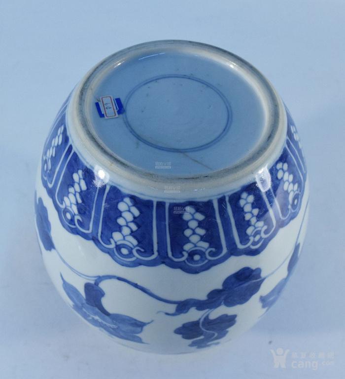 清康熙 蕉叶花卉纹木盖茶罐图3