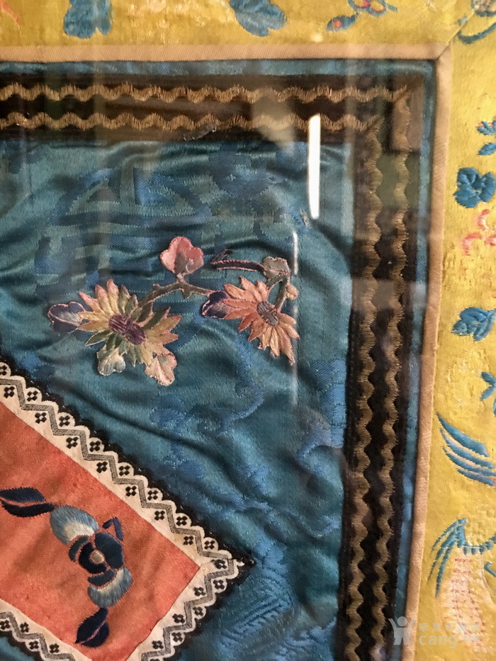 印第安河回流 清代老打籽绣,织綿巨大绣品图7