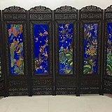 花梨木嵌瓷板珐琅彩六扇屏