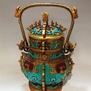 铜鎏金松石玛瑙提梁壶