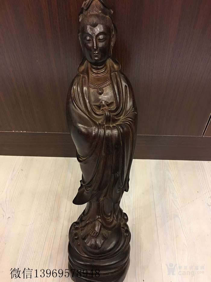 古董清代小叶紫檀雕刻观音木雕一件