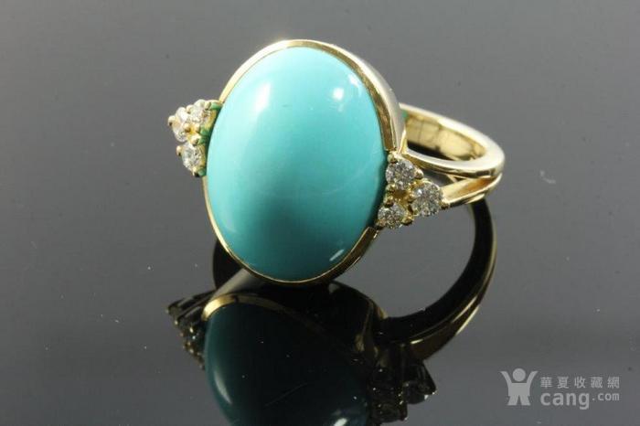 欧洲老首饰优质绿松石 6颗钻石18K大戒指 高级老珠宝图1