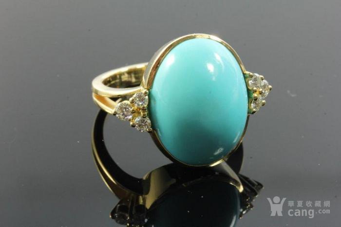 欧洲老首饰优质绿松石 6颗钻石18K大戒指 高级老珠宝图3