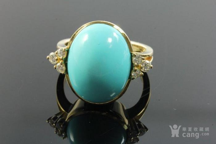 欧洲老首饰优质绿松石 6颗钻石18K大戒指 高级老珠宝图2