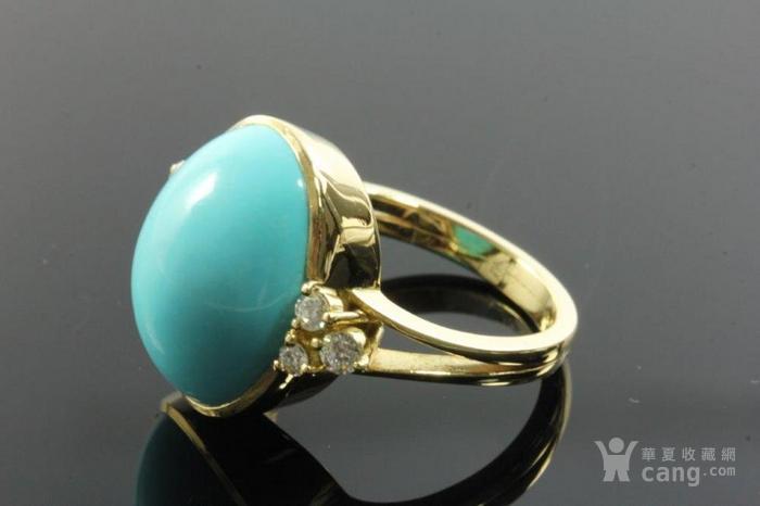 欧洲老首饰优质绿松石 6颗钻石18K大戒指 高级老珠宝图6