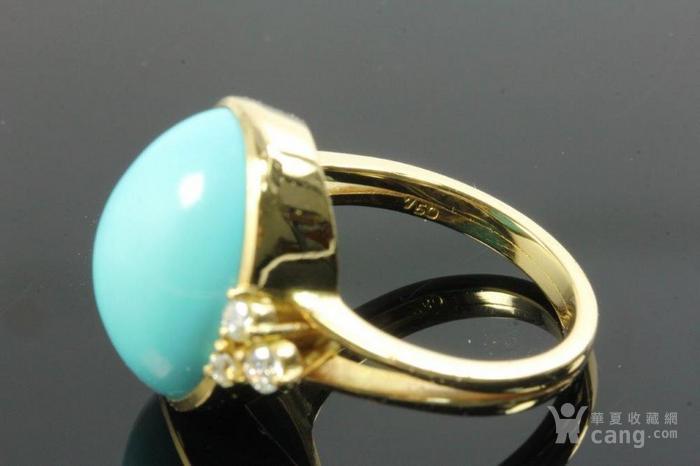 欧洲老首饰优质绿松石 6颗钻石18K大戒指 高级老珠宝图5