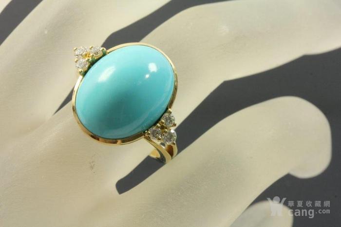 欧洲老首饰优质绿松石 6颗钻石18K大戒指 高级老珠宝图7