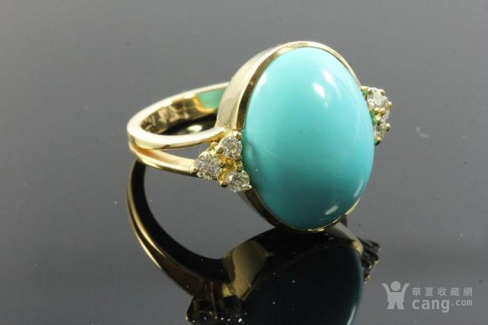 欧洲老首饰优质绿松石 6颗钻石18K大戒指 高级老珠宝图8