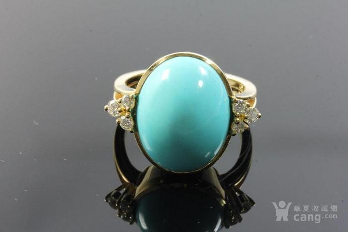 欧洲老首饰优质绿松石 6颗钻石18K大戒指 高级老珠宝图9