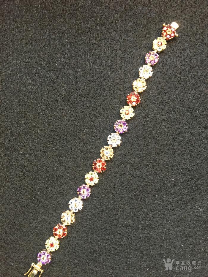 美国回流兴业坊 925银镀金镶嵌彩色宝石手链图2