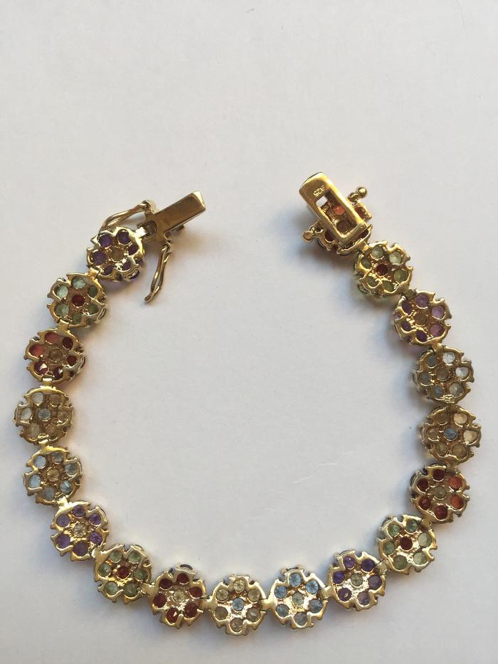 美国回流兴业坊 925银镀金镶嵌彩色宝石手链图5