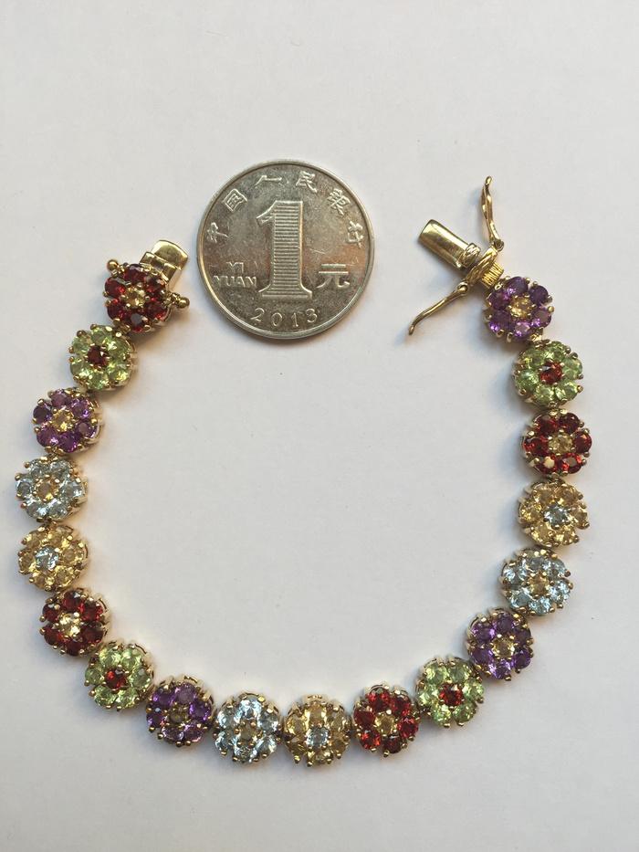 美国回流兴业坊 925银镀金镶嵌彩色宝石手链图8