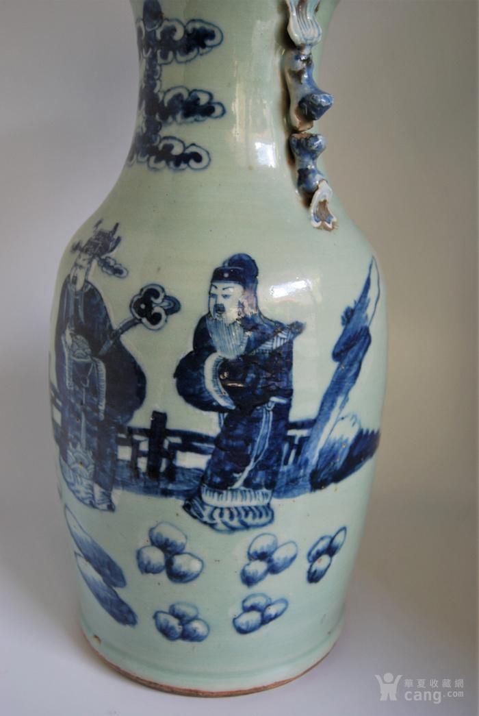 清 豆青釉青花福禄寿三星纹瓶c79d96图4