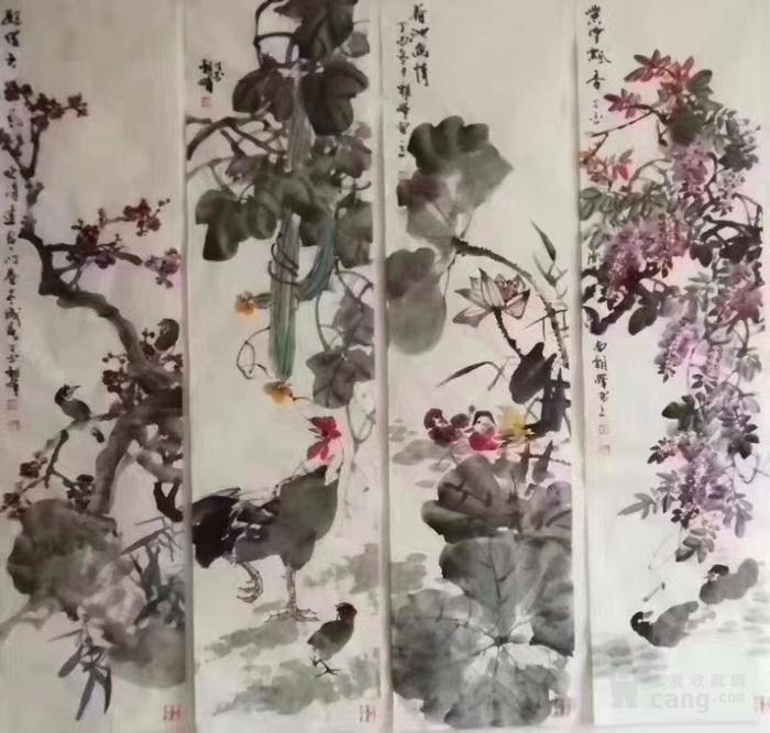 甘肃美协杨朝晖  183 花鸟四条屏图3