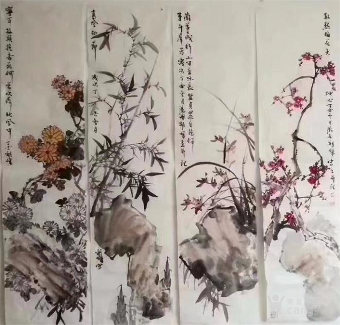 甘肃美协杨朝晖  183 花鸟四条屏图4