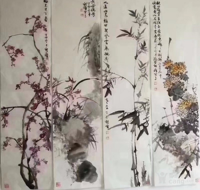甘肃美协杨朝晖  183 花鸟四条屏图7