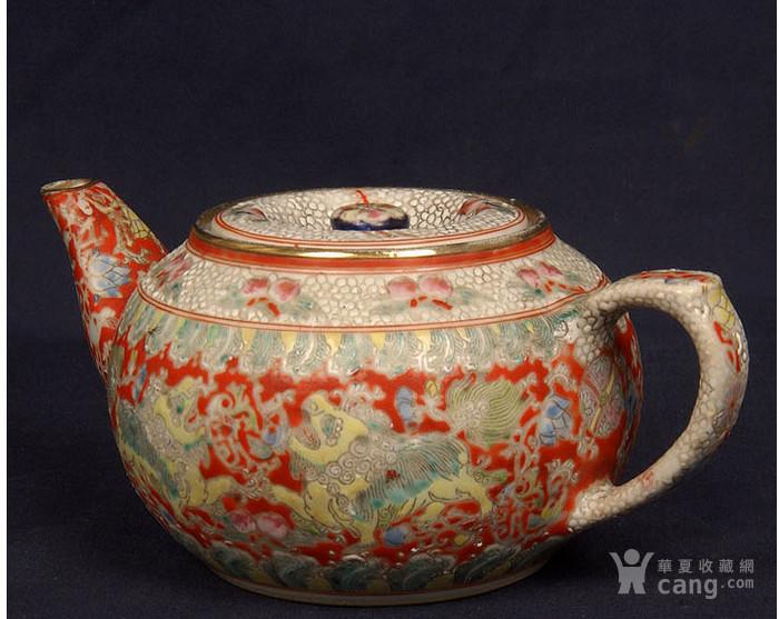 粉彩狮子缠枝花纹茶壶图2