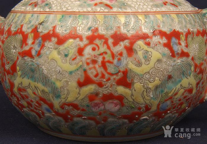 粉彩狮子缠枝花纹茶壶图4