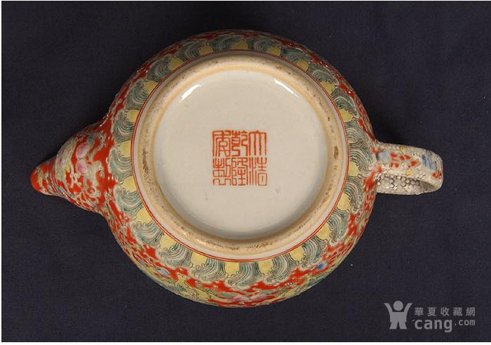 粉彩狮子缠枝花纹茶壶图8