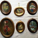6副意大利50年代手绘油画 椭圆实头鎏金镜框装饰画