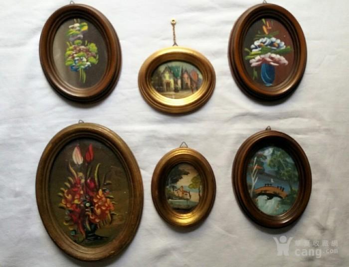 6副意大利50年代手绘油画 椭圆实头鎏金镜框装饰画图1