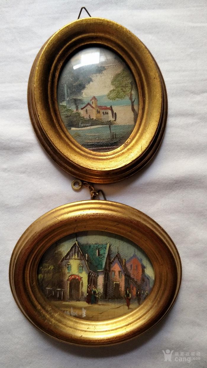 6副意大利50年代手绘油画 椭圆实头鎏金镜框装饰画图2