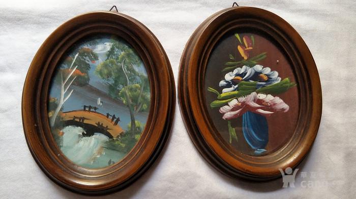 6副意大利50年代手绘油画 椭圆实头鎏金镜框装饰画图3