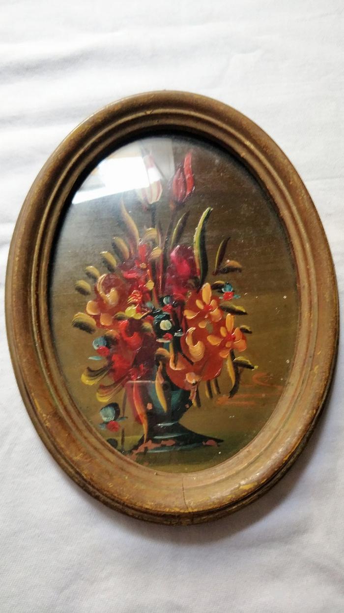 6副意大利50年代手绘油画 椭圆实头鎏金镜框装饰画图4