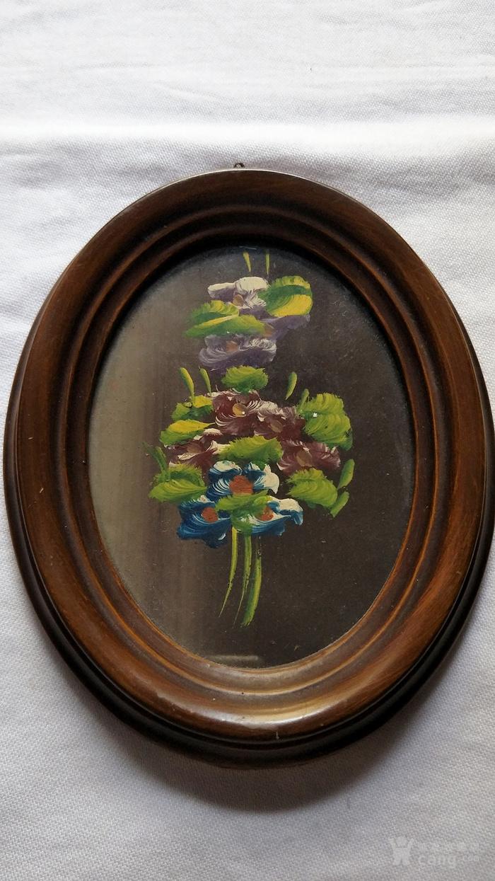 6副意大利50年代手绘油画 椭圆实头鎏金镜框装饰画图5