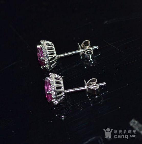 红宝石耳钉 18K金镶天然红宝石耳钉 戴安娜王妃同款图2