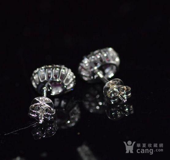 红宝石耳钉 18K金镶天然红宝石耳钉 戴安娜王妃同款图3