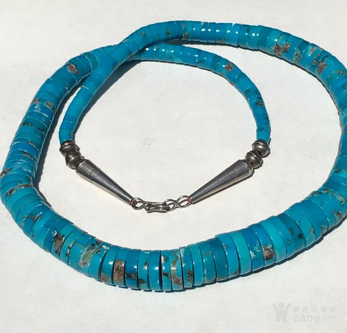 印第安河回流 精品美国高兰高瓷瓷松原矿大扁珠项链图2