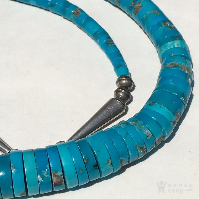 印第安河回流 精品美国高兰高瓷瓷松原矿大扁珠项链图3