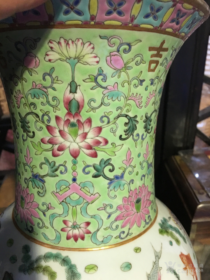清您年有余描金花卉纹纹长颈瓶见细图图7