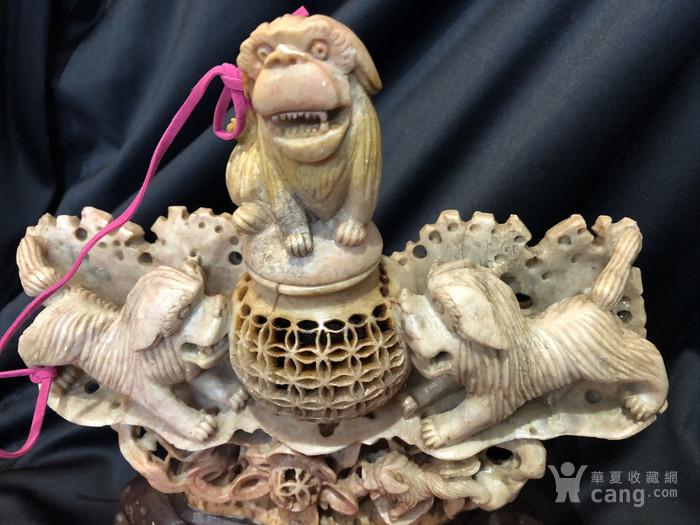 回流 民国寿山石雕太狮少狮香薰炉图2
