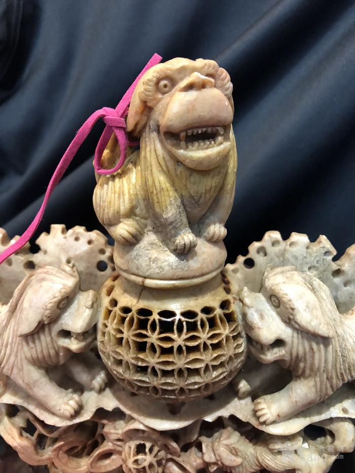 回流 民国寿山石雕太狮少狮香薰炉图4