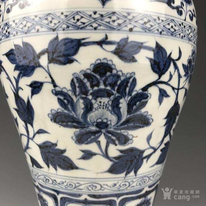 元代 青花缠枝牡丹纹梅瓶图5