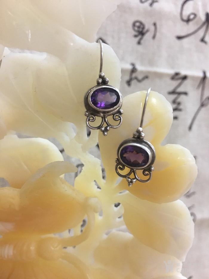 老银紫水晶耳环#图1