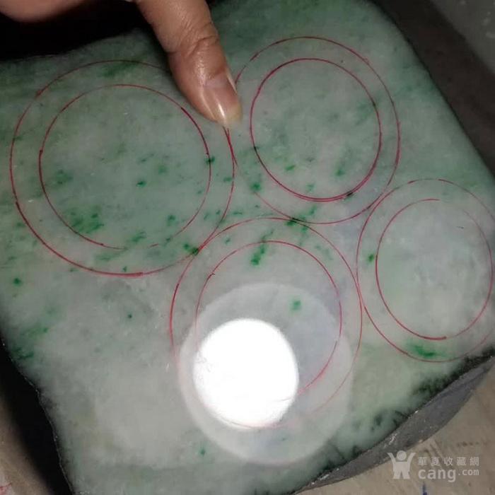 缅甸翡翠原石格应角高冰化底帝王绿飘花手镯料8.88kg图1
