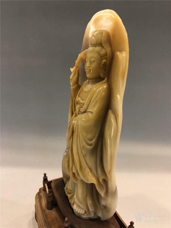 清代寿山石观音菩萨像图7