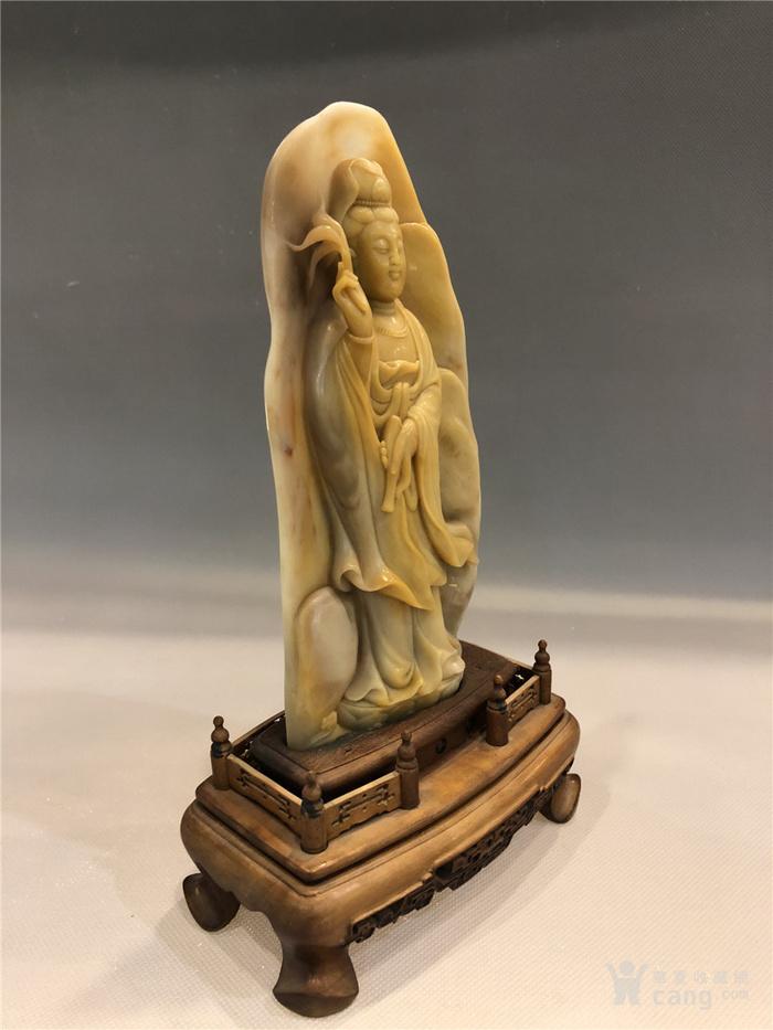 清代寿山石观音菩萨像图11
