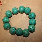 清代老绿松石 原矿原色 超大珠子25MM圆珠