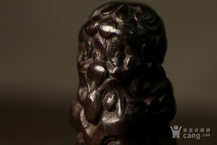 清代紫檀木雕案头狮子